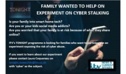 Logo for FAMILY WANTED FOR EXPERIMENT ON CYBER STALKING
